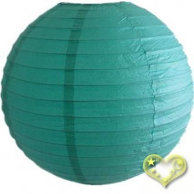 24 Inch Even Ribbing Teal Paper Lanterns