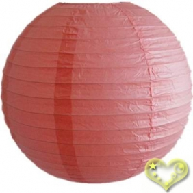 12 Inch Even Ribbing Coral Paper Lanterns