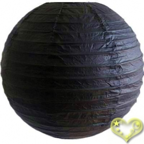 14 Inch Even Ribbing Black Paper Lanterns