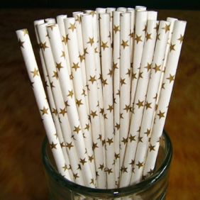 Wholesale White Gold Star Paper Straws(120 bags)