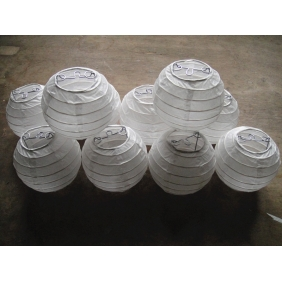 3.5 Inch Even Ribbing White Paper Lanterns(10 OF PACK)