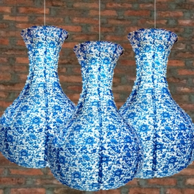 50 X 3PACK Blue and white porcelain paper lanterns