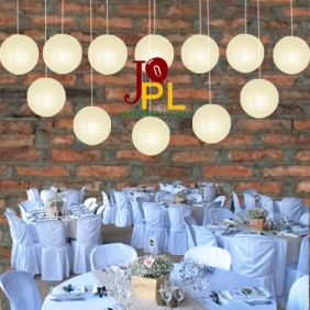 14 Inch Even Ribbing Ivory Paper Lanterns