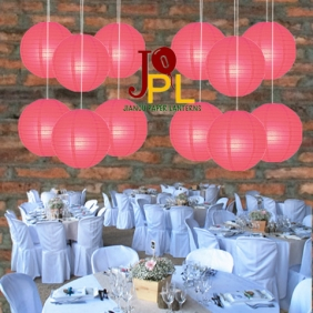 8 Inch Even Ribbing Coral Paper Lanterns
