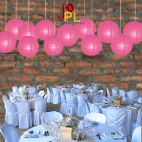 8 Inch Even Ribbing Fuchsia Paper Lanterns