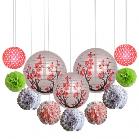 Wholesale 10*12pcs plum blossom with paper pom poms Assorted
