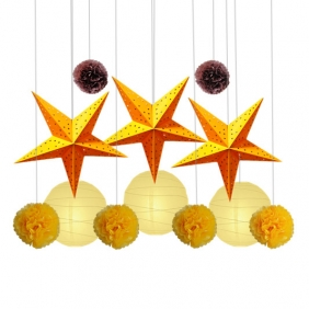 Wholesale 10* 12pcs paper star with paper pom poms Assorted