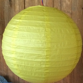 12 Inch Even Ribbing Lemon Yellow Paper Lanterns