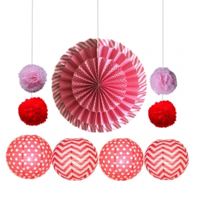 11pcs hanging paper fan decorations hot pink-red