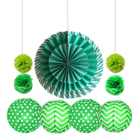11pcs hanging paper fan decorations teal -green
