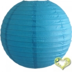 14 Inch Even Ribbing Turquoise Paper Lanterns
