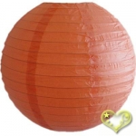 16 Inch Even Ribbing Peach Paper Lanterns