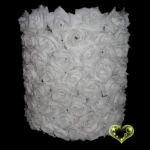 "12"" Cylinder White Rose Flower Lantern"