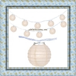 "3"" Ivory Paper Shaped Party String Lights-20L"