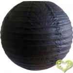24 Inch Even Ribbing Black Paper Lanterns