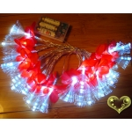 Silk Flower Patels Flash 20 Led String Lights-Red