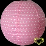 "12"" Pink Dot patterned paper lantern"