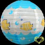 "12"" Fish patterned paper lantern"