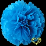 "12"" Tissue Paper Pom Poms Ball - Turquoise(4 pieces)"