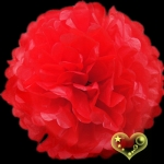 "16"" Tissue Paper Pom Poms Ball - Red (4 pieces)"