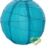 "14"" Uneven Ribbing Turquoise Nylon Lantern(12 pieces)"