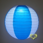"12"" Two Tone Paper lanterns-White Turquoise"