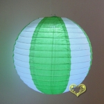 "12"" Two Tone Paper lanterns-White Grass Green"