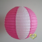 "12"" Two Tone Paper lanterns-White Fuchsia"