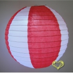 "12"" Two Tone Paper lanterns-White Red"