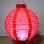 "8"" Red 3LED Round Paper Battery Lantern"