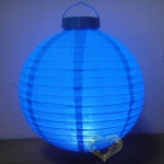 "16"" Turquoise 12 LED Round Paper Battery Lantern"