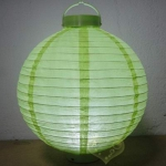 "8"" Light Lime 3LED Round Paper Battery Lantern"