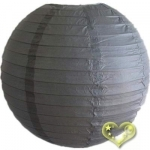 24 Inch Even Ribbing Charcoal Grey Paper Lanterns
