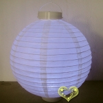 "20"" Beige 12 LED Round Paper Battery Lantern"