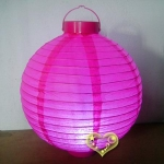 "14"" Fuchsia 12 LED Round Paper Battery Lantern"