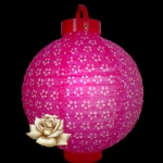 "10"" Fuchsia Eyelet 12LED Battery Double Paper Lantern"