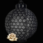 "10"" Black Eyelet 12LED Battery Double Paper Lantern"