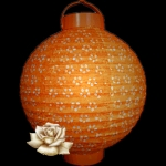 "10"" Orange Eyelet 12LED Battery Double Paper Lantern"