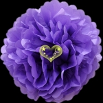 "12"" Tissue Paper Pom Poms Ball - Purple (4 pieces)"