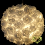 "14"" White Rose Flower Lantern(8 OF CASE)"