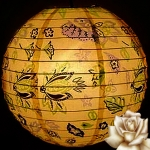 "14"" Yellow Origami Floral Paper Lantern"