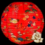"14"" Red Origami Floral Paper Lantern"