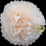 "16"" Tissue Paper Pom Poms Ball - Beige (4 pieces)"