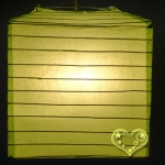 "10"" Light Lime Square Bamboo Ribs Paper Lanterns"
