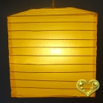 "10"" Yellow Square Bamboo Ribs Paper Lanterns"