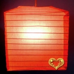 "10"" Coral Square Bamboo Ribs Paper Lanterns"