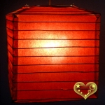 "10"" Burgundy Square Bamboo Ribs Paper Lanterns"