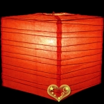 "12"" Coral Square Bamboo Ribs Paper Lanterns"