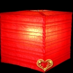 "12"" REd Square Bamboo Ribs Paper Lanterns"