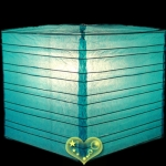 "12"" Turquoise Square Bamboo Ribs Paper Lanterns"